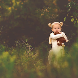 Baby Girl with Fav Teddy by Amber Bullock Owens - Babies & Children Child Portraits ( family, children, styled, woods, photography,  )