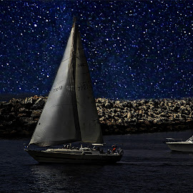 Sailing Under The Stars by Catalina Caballero - Digital Art Places