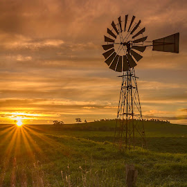 sunset by Glen Ross - Landscapes Prairies, Meadows & Fields ( clouds, sunset, windmill )