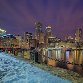 Electric Night by Ron Phillips - City,  Street & Park  Skylines ( winter, hdr, night photography, boston, long exposure, cityscape, waterfront, nightscape )