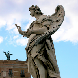 Angel #1 by Jane Spencer - Buildings & Architecture Statues & Monuments ( angel, vatican city, bridge of angels, rome, tiber river, italy )