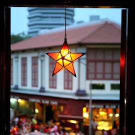 Window view of a gourmet street by Leong Jeam Wong - City,  Street & Park  Street Scenes ( decor, window, arab, food, street, star, glam, eating,  )