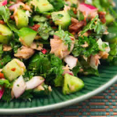 Tuna Salad with Sun-Dried Tomatoes, Cucumbers, Parsley, and Basil