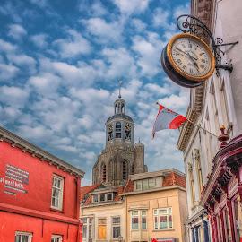 Somewhere in Bergen op Zoom by Петър Шипчанов - City,  Street & Park  Street Scenes ( church, nolland, clock, bergen op zoom, street, cityscape, netherlands, city, object )