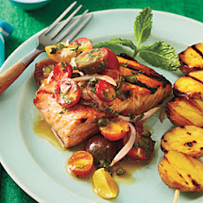 Grilled Char with Yukon Golds and Tomato-Red Onion Relish