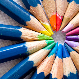 Pencil Wheel of Colour by Renier Van Niekerk - Novices Only Macro ( colour, macro, wheel, color, pencils,  )