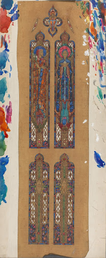 The elongated figures of St Joseph and the Virgin Mary, their elegant hands, pointed feet and spiral motifs in the decoration of the symbols at the bottom are reproducing key elements of Harry Clarke's style, indicating that this design was made in the decade after his death.