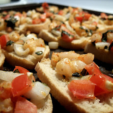 Bruschetta With Lima Bean Salad and Lemon Shrimp