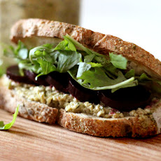 Roasted Beet and Arugula Sandwich with Green Olive Tarragon Tapenade