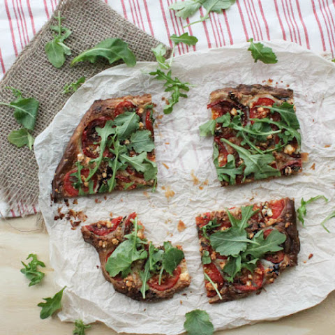 Tomato, Feta and Arugula Tart with Balsamic Reduction