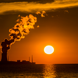 by Blaine Stauffer - Landscapes Sunsets & Sunrises ( water, skyline, sunset, nuclear plant )