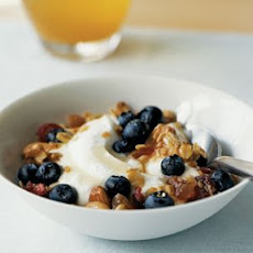 Granola with Greek Yogurt, Blueberries and Rosemary Honey