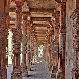 Qutub Minar Wall Pillars by Abhishek Pandey's PhotoGraphy - Buildings & Architecture Architectural Detail ( india, delhi )