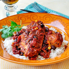 Chicken with Black Bean Chipotle Chili and Rice