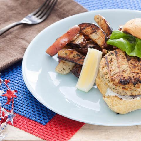 Chickpea Veggie Burgers with Garlic-Basil Aioli & Grilled Potato ...