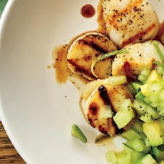 Grilled Scallops with Honeydew-Avocado Salsa