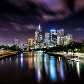 Melbourne City by Michael Wiejowski - City,  Street & Park  Skylines ( skyline, skyscrapers, melbourne, australia, victoria, night, yarra, city )