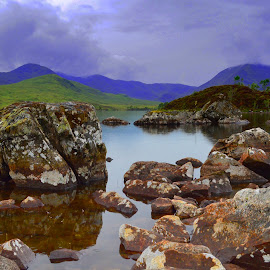 Mountains and loch by Nicole Williams - Novices Only Landscapes ( scotland loch mountains rocks )