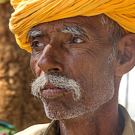 by Amit Aggarwal - People Portraits of Men ( udaipur, yellow turban, mustache, professional people, portrait )