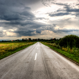 There is end by Oliver Švob - Transportation Roads ( canon, clouds, sky, asphalt, road trip, croatia, road,  )