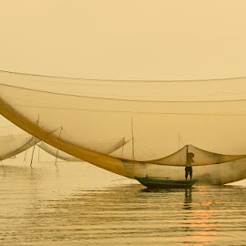 Fishing by LietHung Tran - Landscapes Waterscapes ( water, foggy, fish, sea, fishing, sunlight, boat, net, man )