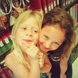 sweet faces by Heather McDougall - Babies & Children Children Candids ( girls, silly faces, library, cousins, being goofy,  )