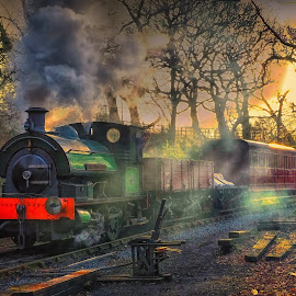 the evening train by Phil Robson - Transportation Railway Tracks (  )