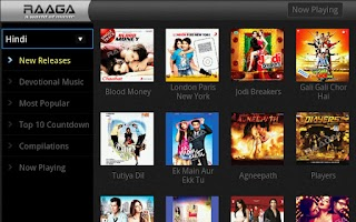 Screenshot of Raaga.com for Google TV