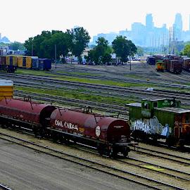 Metropolis by Jennifer Schmidt - City,  Street & Park  Skylines ( train switch, minneapolis, mn train yard, train yard, trains,  )