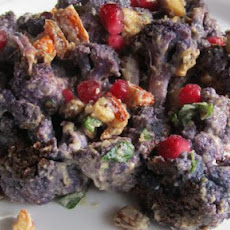 Roast Cauliflower With Almond, Pomegranate Seeds and Tahini Sauc