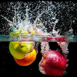Splash with Colors by Nauman Khan - Food & Drink Fruits & Vegetables ( water, orange, water drops, red, splash, green, waves, colors, apple, bubbles, splash water photography )