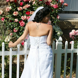 by Leslie Hunziker - Wedding Bride ( pose, wedding, dress, roses, bride, tattoo,  )