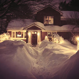 Lighted Snow by Rob King - Novices Only Landscapes ( christmas lights, snow, house )