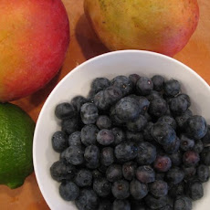 Mangoes and Blueberries in Yogurt Cream