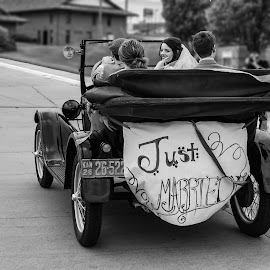 the great escape by Laurie Biby - Wedding Other ( black and white, wedding, bride, groom, just married, escape,  )