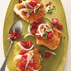 Panko-Crusted Cod with Tomato-Basil Relish