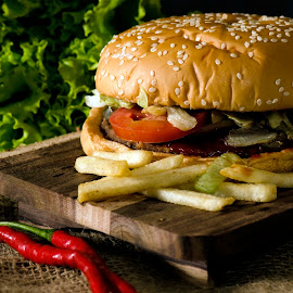 Hot Burger by M Reza Saptodi - Food & Drink Plated Food