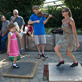 Clogging and Fiddling by Hugh Hazelrigg - People Musicians & Entertainers ( indiana, bloomington, pixoto, performer, busker, street scene, public, dance, people )