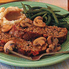 Meat Loaf with Sauteed Mushrooms