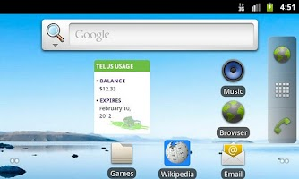 Screenshot of Telus usage summary widget