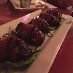 Gorgonzola stuffed, prosciutto wrapped roasted dates