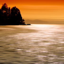 Bowen Island Sunset by Xavier Wiechers - Digital Art Places ( water, mountains, reflection, silhouette, bowen, sunset, sea, trees, ocean, blur, island )