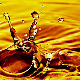 yellow drop by Carlos H Mardones Acevedo - Abstract Water Drops & Splashes ( water, water drops, art, drops, photography )