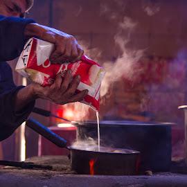 Making Tea by Kashf Gee - Food & Drink Alcohol & Drinks ( village, kitchen, tea, fire )