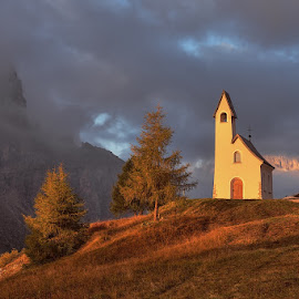 Chapel in Passo Gardena by Alexandr Kolovratnik - Landscapes Mountains & Hills ( alpen, mountain, dolomity, passo gardena, autumn colours, chapel, sassoluongo, sky, passo, tree, autumn, dolomites, sunrise )