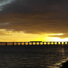 Bridge Over Troubled Water by Dave Christie - Landscapes Sunsets & Sunrises ( dundee, sunset, train, railway bridge, atmospheric )