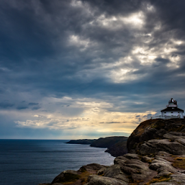 Lighthouse 2 by Nigel Bullers - Landscapes Waterscapes ( clouds, sky, lighthouse, sea, landscape )