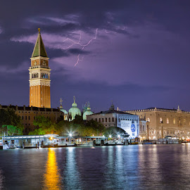 Lighting at the Light of Bell Tower by Ellen Yeates - Buildings & Architecture Other Exteriors ( water, building, ellen yeates, europe, relax, architecture, storm, photography, lightning, tower, vacation, lighting, voyage, rome, venice, architectural, weather, trip, roman, tour, italy )