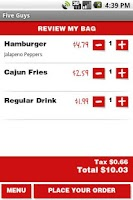 Screenshot of Five Guys Burgers & Fries