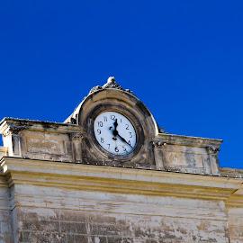 Old sicilian clock by Cristina Bercea - City,  Street & Park  Historic Districts ( center, clock tower, blue, clock, city )